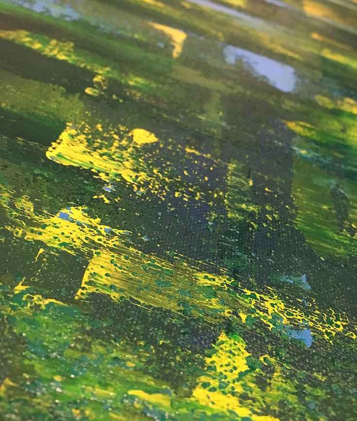 textured green abstract painting