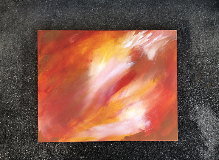 fire zodiac sign leo abstract painting
