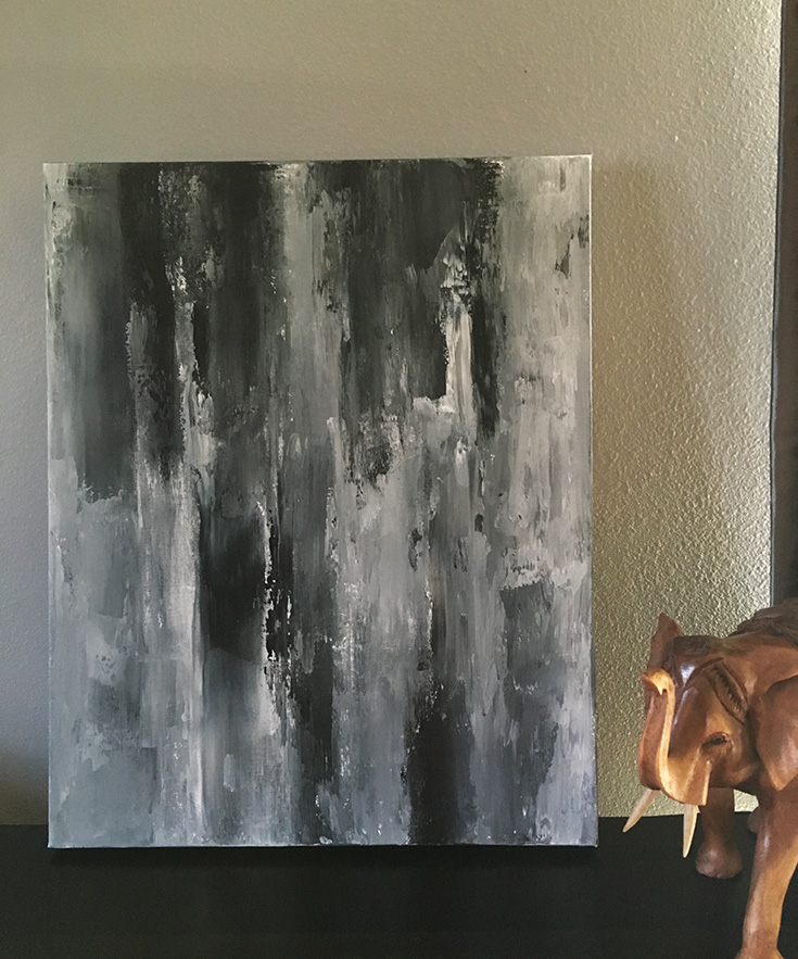 black grey and white abstract painting